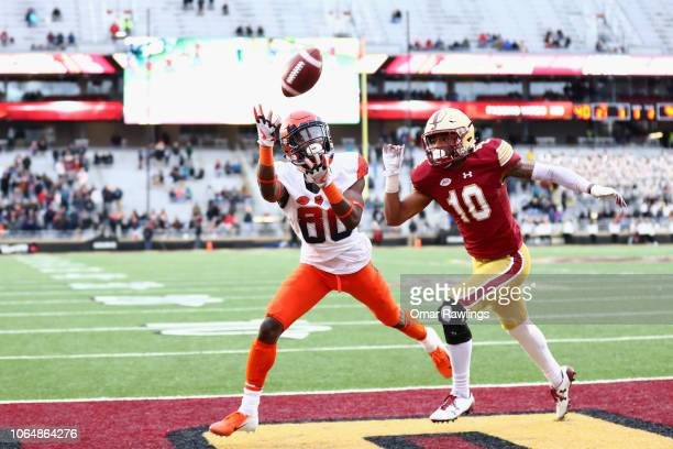 Taj Harris of the Syracuse Orange makes a touchdown catch during the fourth quarter of the game against the Boston College Eagles at Alumni Stadium...