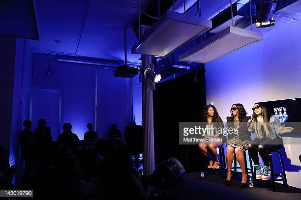 Taj Johnson Coko Clemons Lelee Lyons of RB trio SWV visit the Apple Store Soho on April 17 2012 in New York City