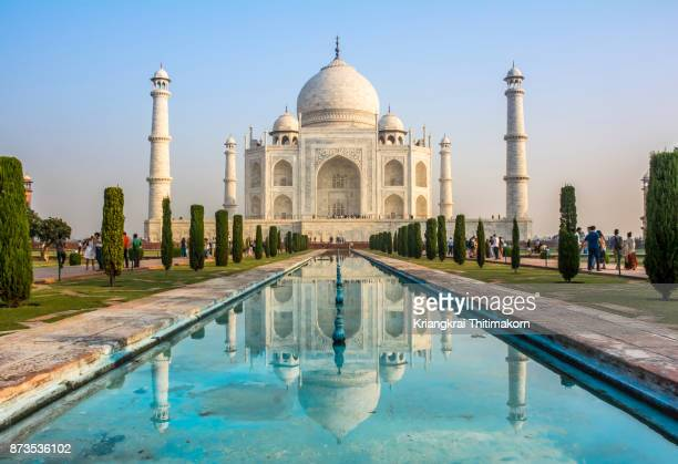 taj mahal, agra city, india. - uttar pradesh stock pictures, royalty-free photos & images