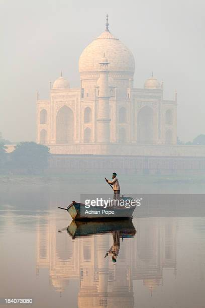 Taj Mahal and boatman, Agra