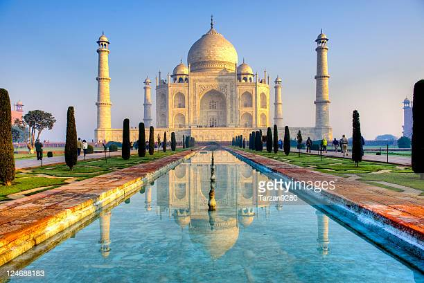 taj mahal and its reflection in pool, hdr - taj mahal stock photos and pictures