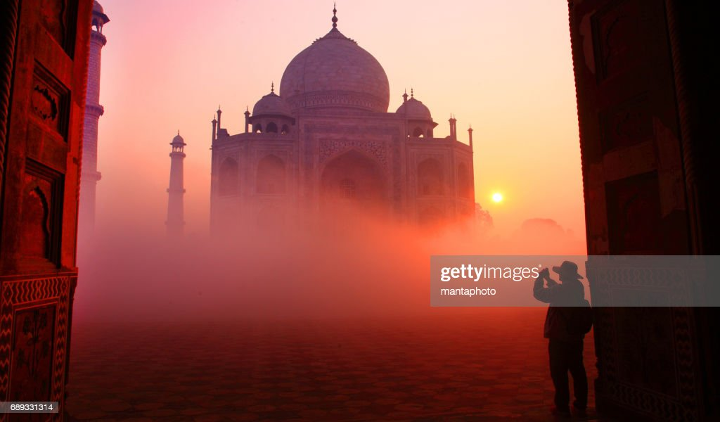 Taj Mahal at Sunrise : Stock Photo