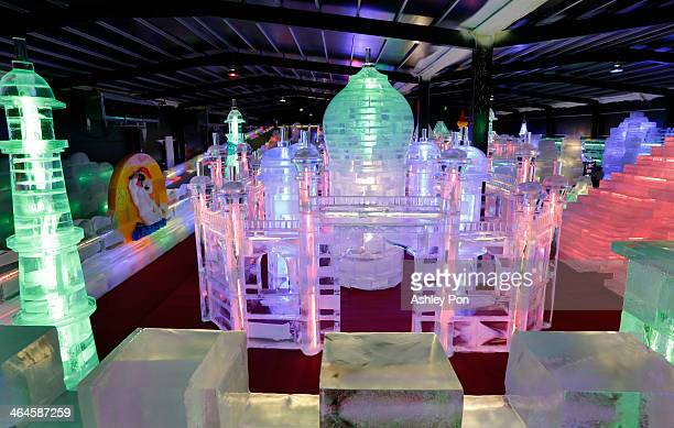 """Taj Mahal ice sculpture displayed at the """"Fantasy Ice World"""" on January 23, 2014 in Taipei, Taiwan. Ice sculptors from the famous Harbin Ice Festival..."""
