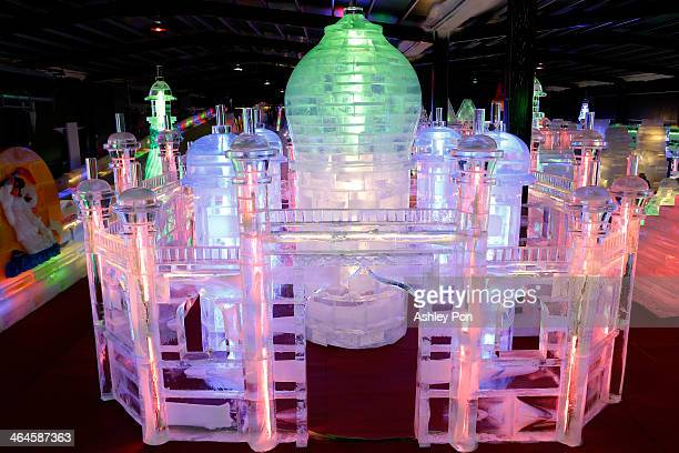 Taj Mahal ice sculpture displayed at the Fantasy Ice World on January 23 2014 in Taipei Taiwan Ice sculptors from the famous Harbin Ice Festival...