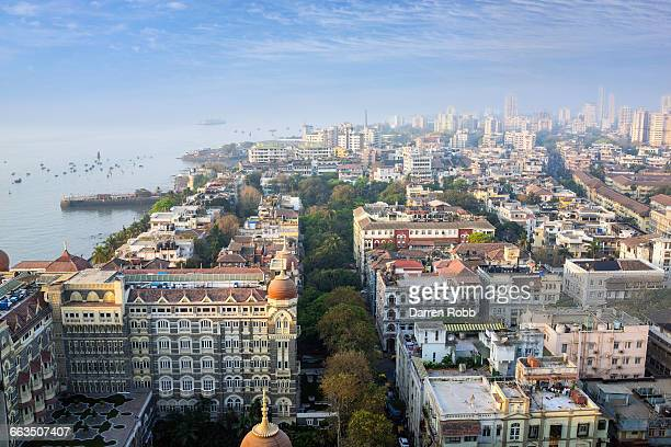 taj mahal palace hotel and mumbai city, india - ムンバイ ストックフォトと画像