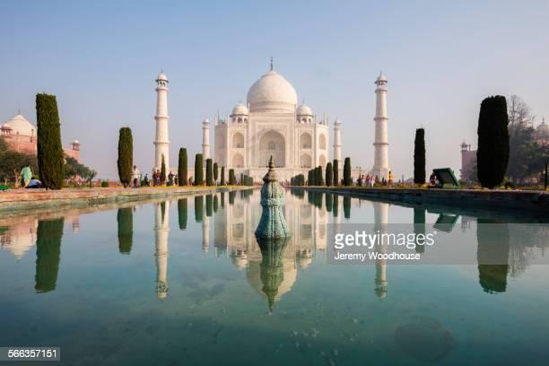 Taj Mahal reflecting in still pond, Agra, Uttar Pradesh, India