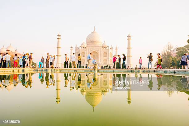 taj mahal reflection - taj mahal stock photos and pictures