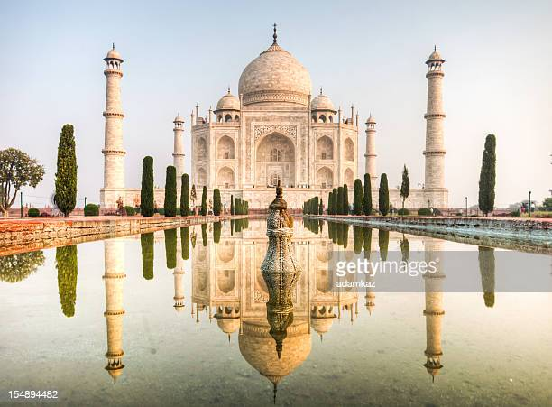 taj mahal reflections - taj mahal stock photos and pictures