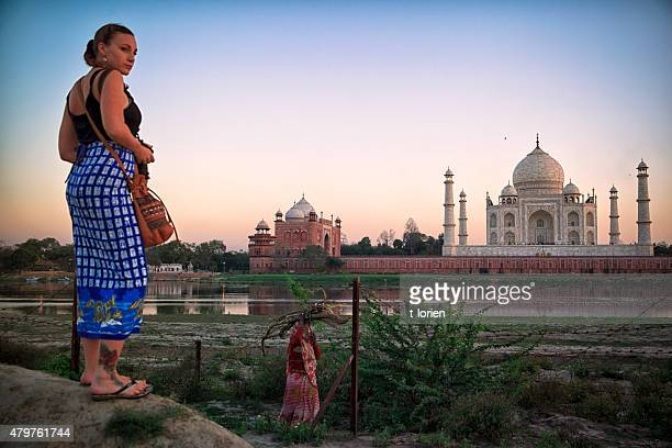 Taj Mahal, seen from the riverside. Agra.