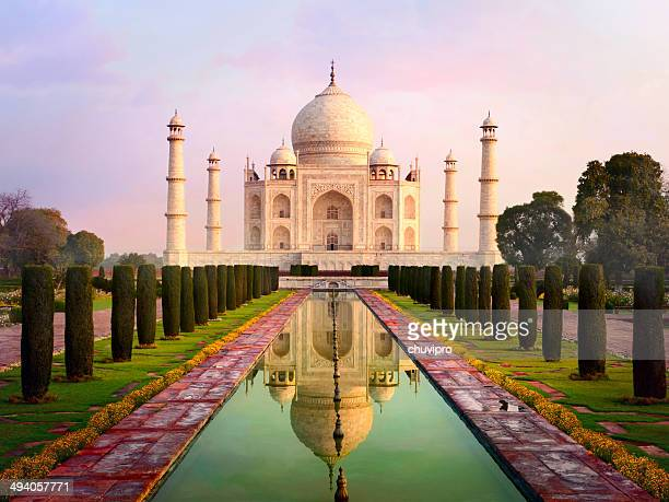 taj mahal spectacular early morning view - taj mahal stock photos and pictures