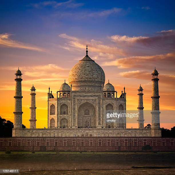 taj mahal sunset - taj mahal stock pictures, royalty-free photos & images