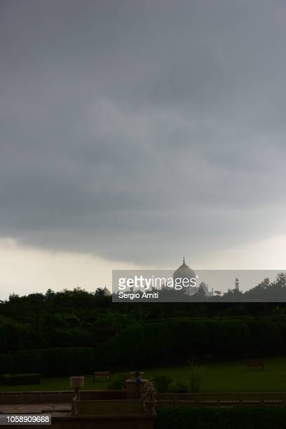 Taj Mahal with stormy clouds