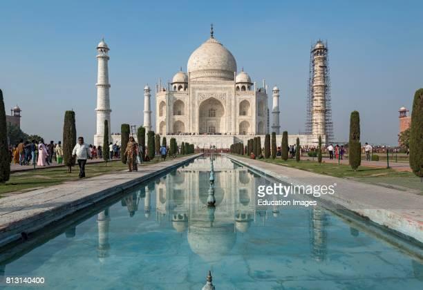 Taj Mahal with the reflecting pool Agra India