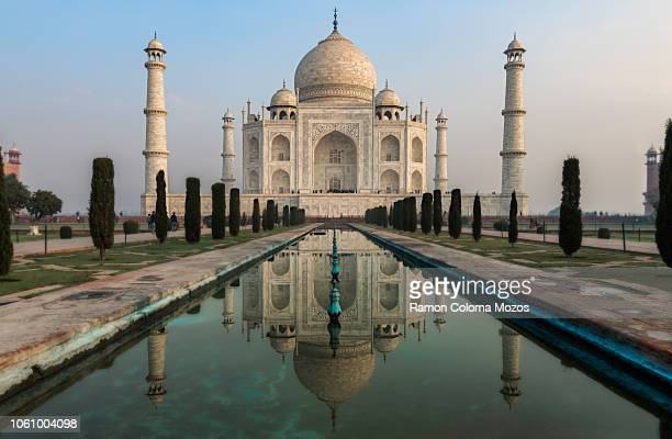 taj mahal's reflection - taj mahal stock pictures, royalty-free photos & images