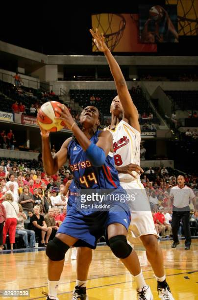 Taj McWilliamsFranklin of the Detroit Shock looks to score over Tammy SuttonBrown of the Indiana Fever in Game One of the Eastern Conference...
