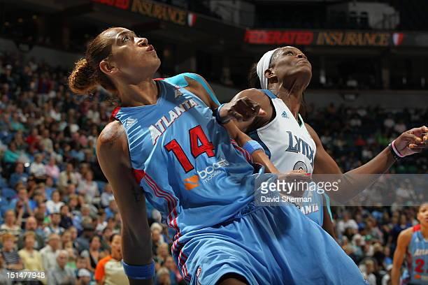 Taj McWilliamsFranklin of the Minnesota Lynx battles for position against Erika de Souza of the Atlanta Dream during the WNBA game on September 7...