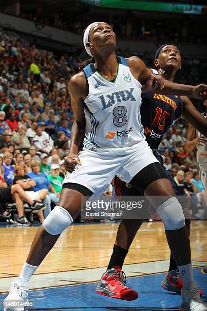 Taj McWilliamsFranklin of the Minnesota Lynx boxes out against Asjha Jones of the Connecticut Sun in the game on July 7 2012 at Target Center in...