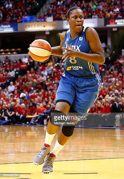 Taj McWilliamsFranklin of the Minnesota Lynx dribbles to the hoop against the Indiana Fever during Game Three of the 2012 WNBA Finals on October 19...