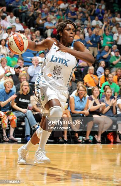 Taj McWilliamsFranklin of the Minnesota Lynx drives towards the basket against the Chicago Sky during the game on September 8 2011 at Target Center...