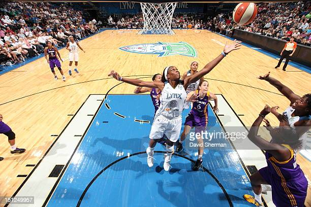 Taj McWilliamsFranklin of the Minnesota Lynx goes for the rebound in the WNBA game against the Los Angeles Sparks on September 4 2012 at Target...