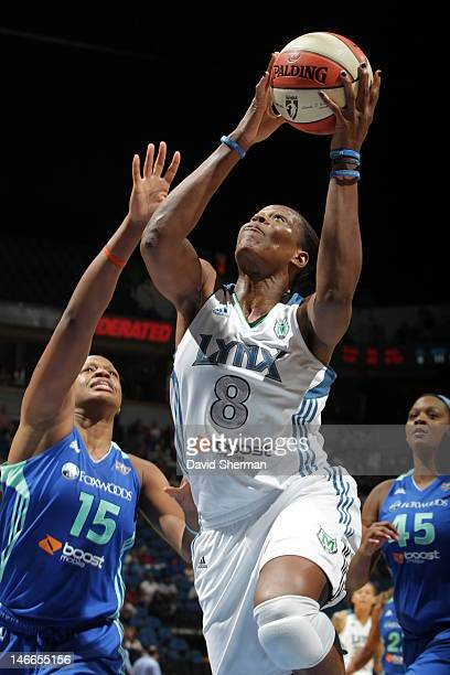 Taj McWilliamsFranklin of the Minnesota Lynx goes to the basket against Kia Vaughn of the New York Liberty in the game on June 21 2012 at Target...