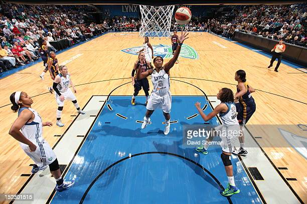 Taj McWilliamsFranklin of the Minnesota Lynx goes up for a rebound against the Indiana Fever during the WNBA game on September 17 2012 at Target...