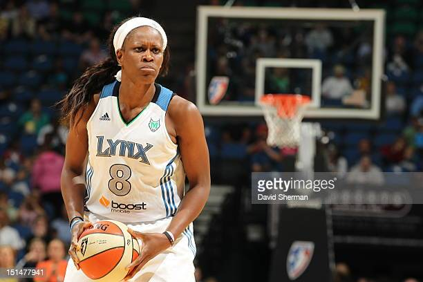 Taj McWilliamsFranklin of the Minnesota Lynx looks to pass against the Atlanta Dream during the WNBA game on September 7 2012 at Target Center in...