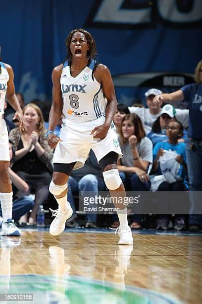 Taj McWilliamsFranklin of the Minnesota Lynx reacts after a play during the WNBA game against the San Antonio Silver Stars on August 28 2012 at...
