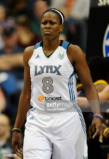 Taj McWilliamsFranklin of the Minnesota Lynx reacts during the first quarter of Game Two of the 2012 WNBA Finals against the Indiana Fever on October...