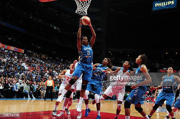 Taj McWilliamsFranklin of the Minnesota Lynx rebounds against the Atlanta Dream during Game Three of the 2011 WNBA Finals at Philips Arena on October...