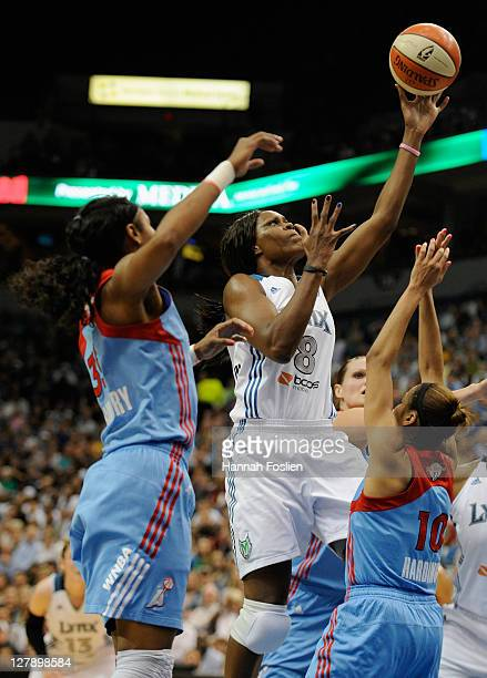Taj McWilliamsFranklin of the Minnesota Lynx shoots against Lindsey Harding of the Atlanta Dream in the second quarter in Game One of the 2011 WNBA...