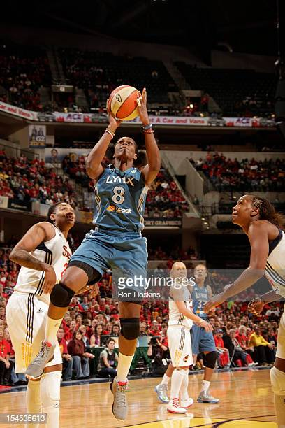 Taj McWilliamsFranklin of the Minnesota Lynx shoots against the Indiana Fever during Game four of the 2012 WNBA Finals on October 21 2012 at Bankers...