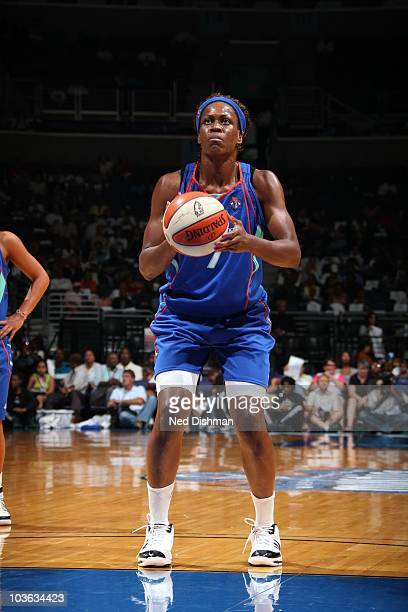 Taj McWilliamsFranklin of the New York Liberty plans her next move during the WNBA game against the Washington Mystics at the Verizon Center on...