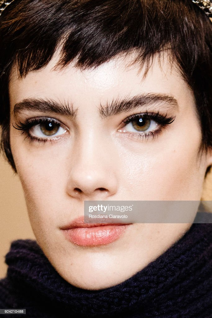 Taja Feistner is seen backstage ahead of the Les Copains show during Milan Fashion Week Fall/Winter 2018/19 on February 22, 2018 in Milan, Italy.