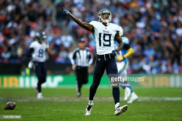 Tajae Sharpe of the Tennessee Titans celebrates making a catch during the NFL International Series game between Tennessee Titans and Los Angeles...