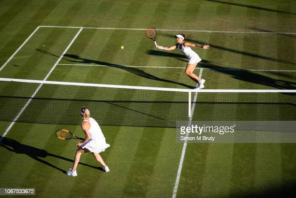 Tajana Maria of Germany in action against Elina Svitolina of Ukraine during the first round of The Wimbledon Lawn Tennis Championship at the All...