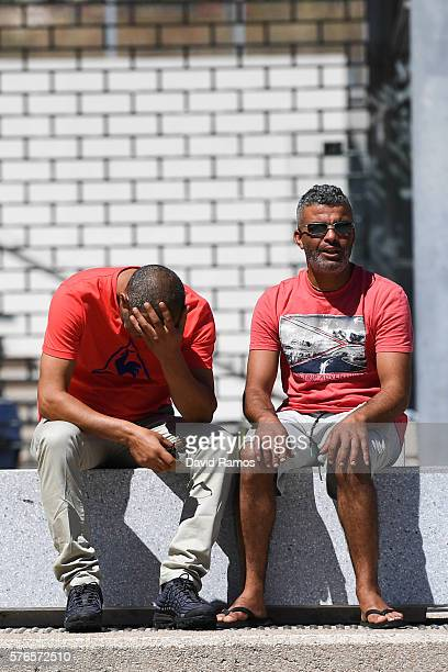 Tajar Mejri who lost his wife and son reacts next to a relative outside the Pasteur hospital on July 16 2016 in Nice France Five people believed to...