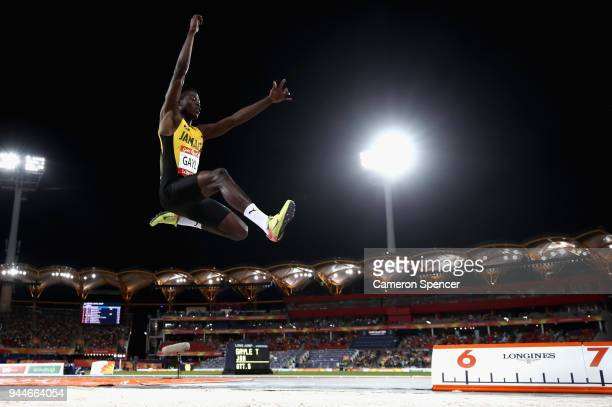Tajay Gayle of Jamaica competes in the Men's long jump final during athletics on day seven of the Gold Coast 2018 Commonwealth Games at Carrara...