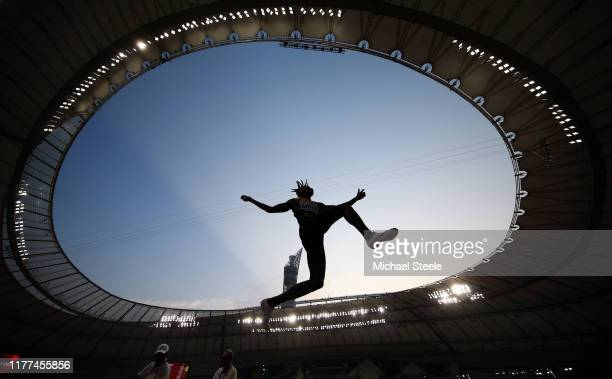 Tajay Gayle of Jamaica competes in the Men's Long Jump qualification during day one of 17th IAAF World Athletics Championships Doha 2019 at Khalifa...