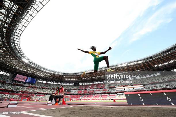 Tajay Gayle of Team Jamaica competes in the Men's Long Jump Final on day ten of the Tokyo 2020 Olympic Games at Olympic Stadium on August 02, 2021 in...