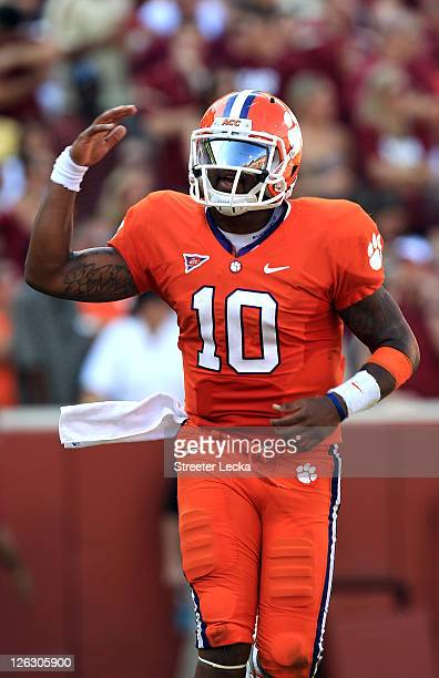 Tajh Boyd of the Clemson Tigers celebrates after throwing a touchdown against the Florida State Seminoles during their game at Memorial Stadium on...