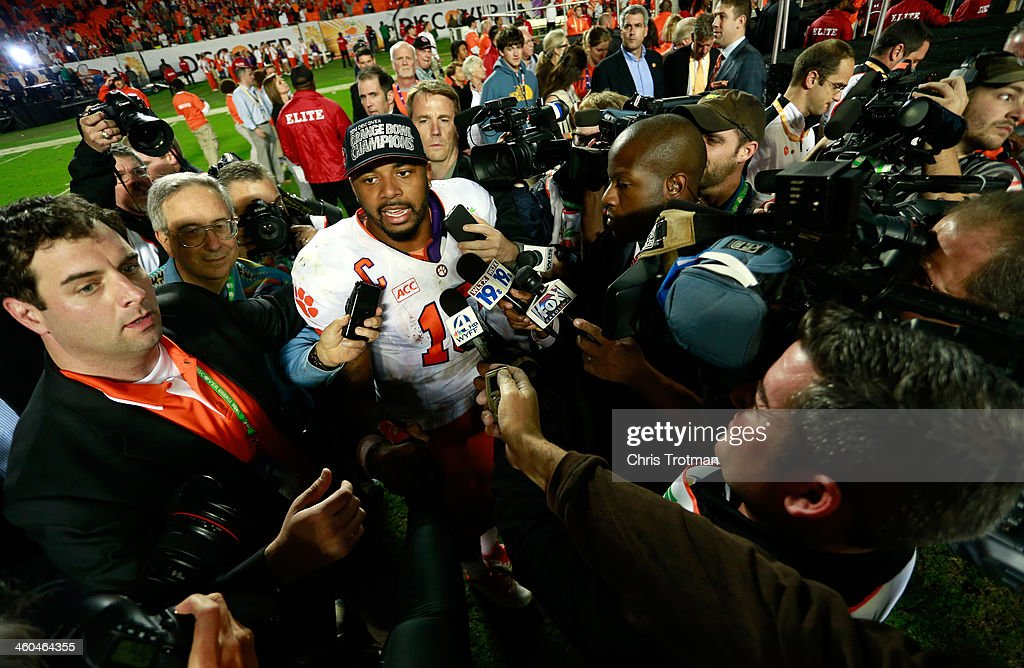 Tajh Boyd #10 of the Clemson Tigers is interviewed by the media after defeating the Ohio State Buckeyes during the Discover Orange Bowl at Sun Life Stadium on January 3, 2014 in Miami Gardens, Florida. Clemson defeated Ohio State 40-35.