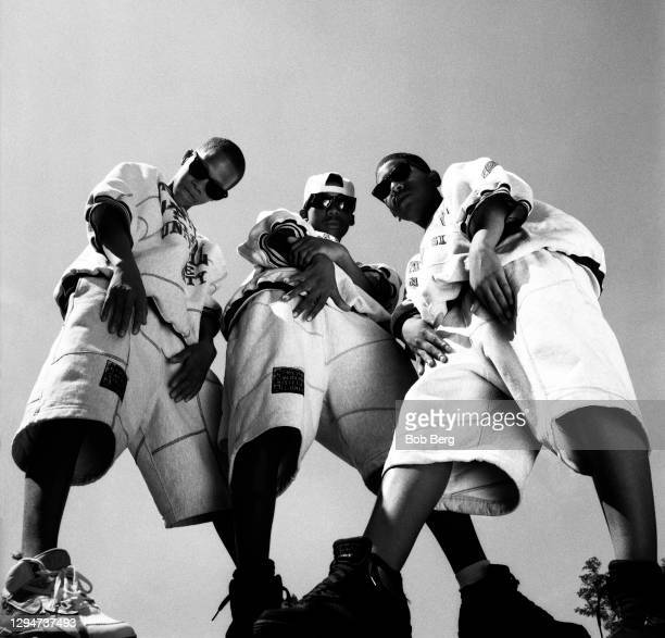 "Taji ""Taj Mahal"" Goodman, Tarik ""Reek Geez"" Dawson and Qu'ran ""Q-Ball"" Goodman of the American rap group Da Youngsta's pose for a portrait circa 1991..."