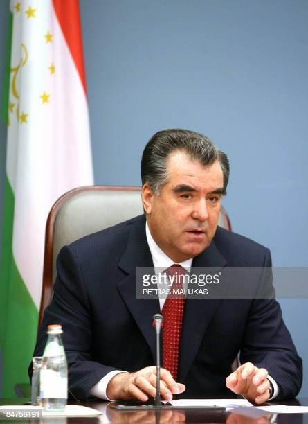 Tajik President Emomali Rakhmon gives a press conference on February 12, 2009 during an official welcoming ceremony in Vilnius, where he was met by...