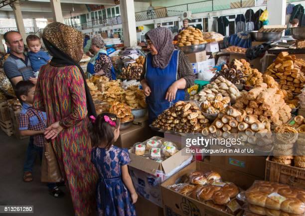 Tajik women selling cakes in a local market GornoBadakhshan autonomous region Khorog Tajikistan on August 19 2016 in Khorog Tajikistan