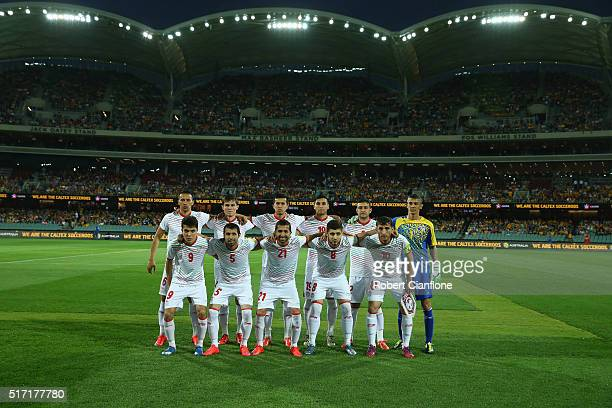 Tajikistan line up during the 2018 FIFA World Cup Qualification match between the Australia Socceroos and Tajikistan at the Adelaide Oval on March 24...