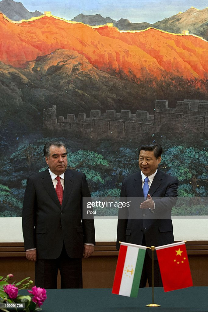Tajikistan President Emomali Rahmon and Chinese President Xi Jinping attend a signing ceremony at the Great Hall of the People on May 20, 2013 in Beijing, China. Rahmon is in China for the first time on a two-day visit to discuss bilateral talks between countries.