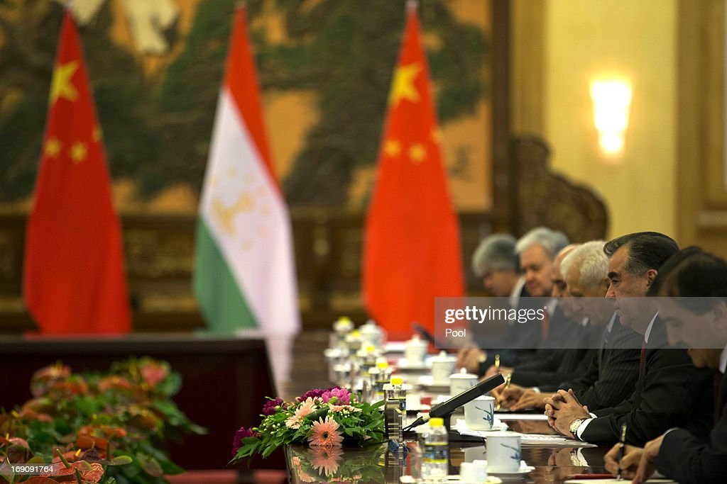Tajikistan President Emomali Rahmon attends a meeting with Chinese President Xi Jinping at the Great Hall of the People on May 20, 2013 in Beijing, China. Rahmon is in China for the first time on a two-day visit to discuss bilateral talks between countries.
