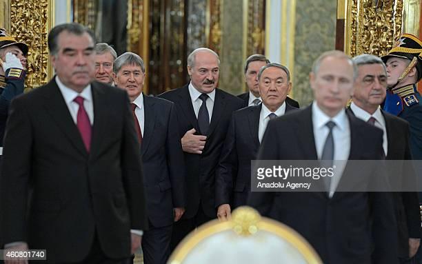 Tajikistan's President Emomali Rahmon, CSTO Secretary General Nikolai Bordyuzha, Kyrgyzstan's President Almazbek Atambayev, Belarus' President...