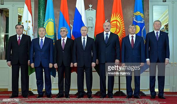 Tajikistan's President Emomali Rahmon, Kazakhstan's President Nursultan Nazarbayev, Armenia's President Serge Sarkisian, Russia's President Vladimir...